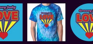 Groovy Love Pack - Love CD, Blue Swirl Tie Dye T-Shirt, Love Sticker